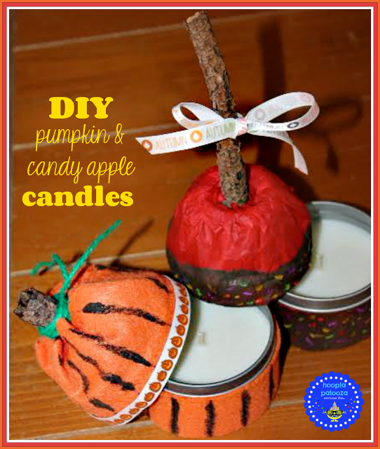 diy pumpkin and candy apple candles