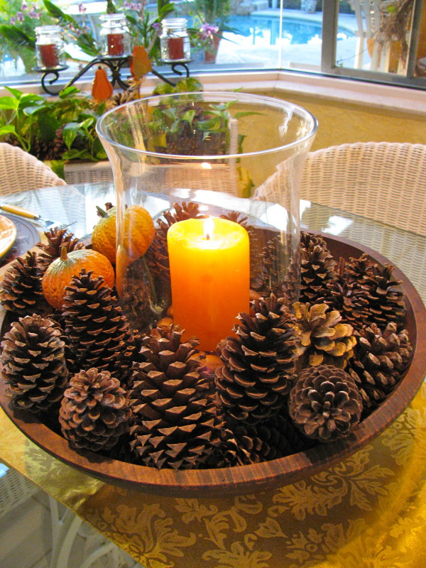 fall pine cone centerpieces