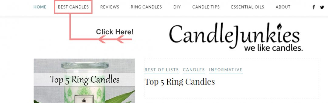 Screenshot of our new best candles section