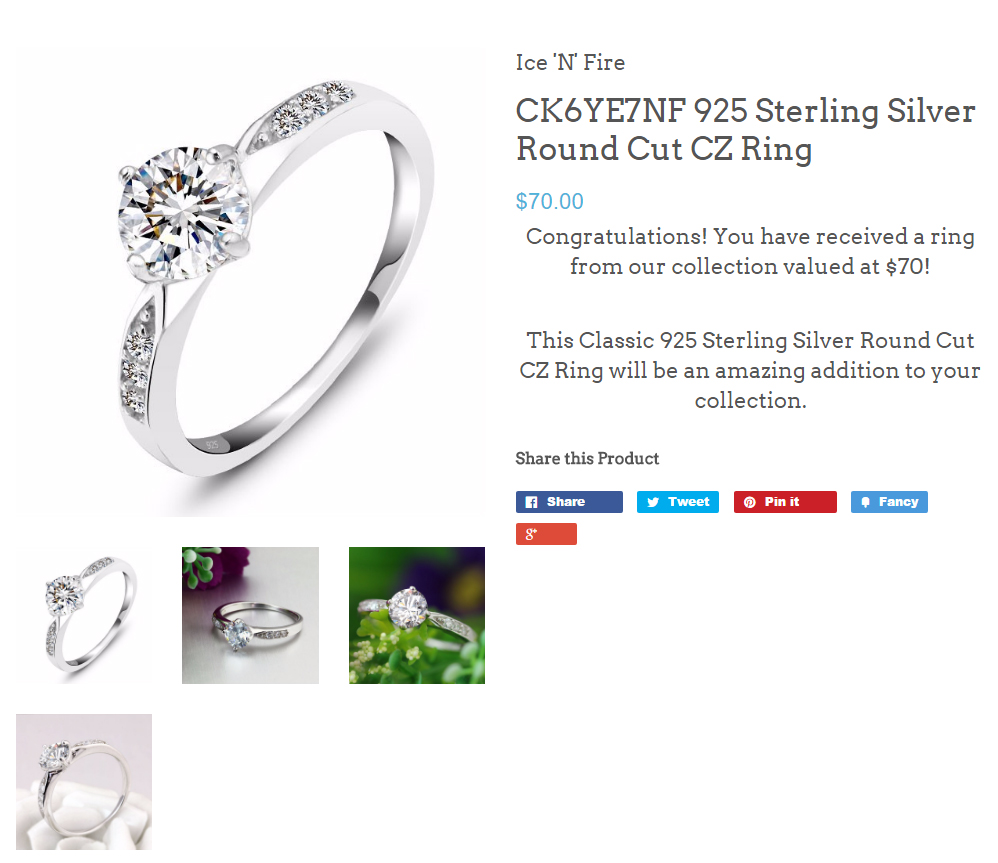Ice N Fire .925 Sterling Silver Round Cut CZ Ring
