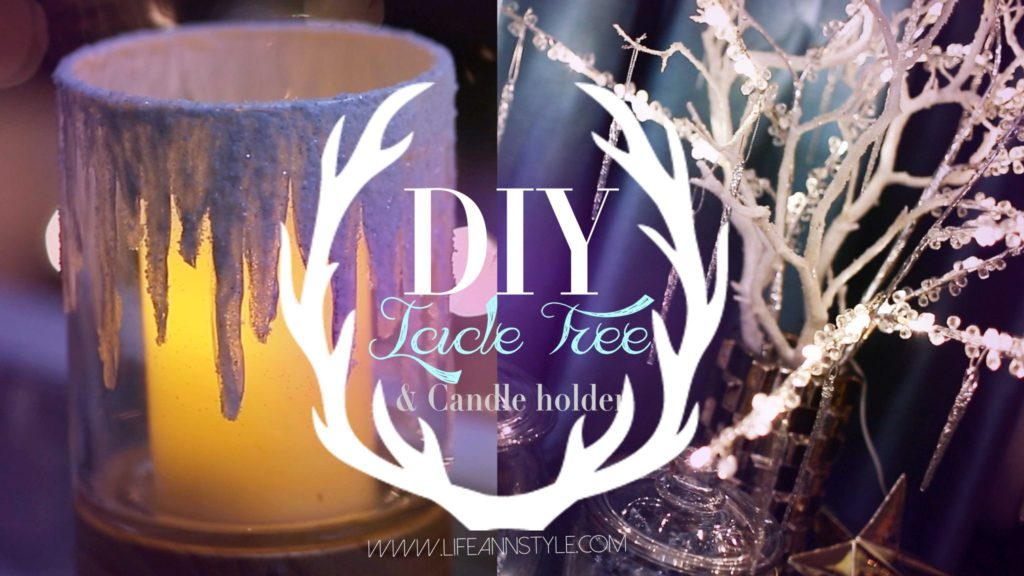 icicle frosted candle holders