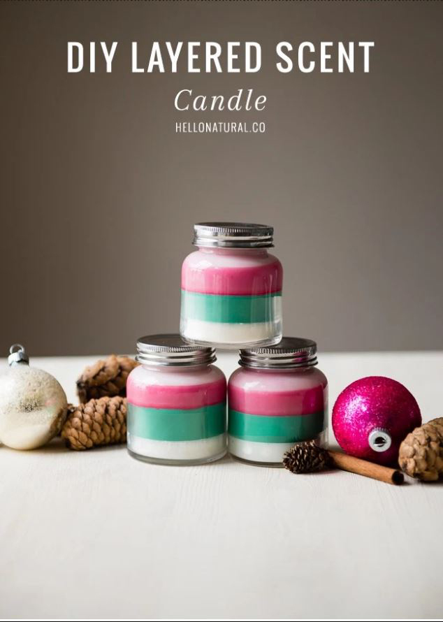 layered scented holiday candles