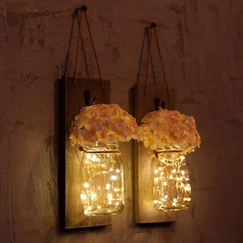mason jar fairy light candle holders