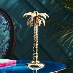 palm tree gold taper candle holder